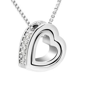 Dámský náhrdelník ve tvaru srdce s krystaly