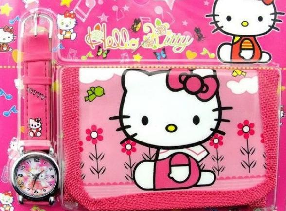 Hello Kitty - dětské hodinky s peněženkou
